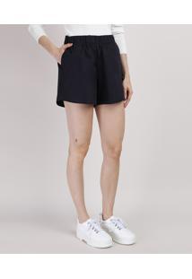Short Feminino Mindset Cintura Alta Com Bolsos Azul Escuro