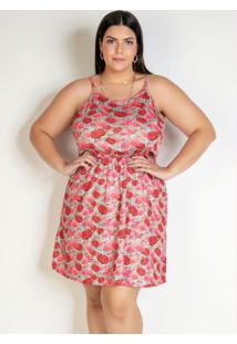Vestido Curto Floral Rosa Com Alças Plus Size