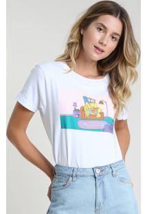 Blusa Feminina Os Simpsons Ampla Manga Curta Decote Redondo Branca