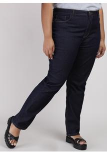 Calça Jeans Feminina Plus Size Reta Cintura Alta Azul Escuro