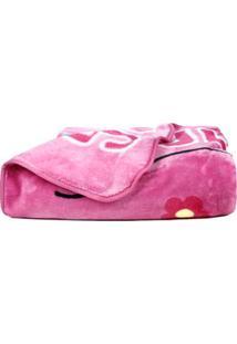 Cobertor Solteiro Jolitex Raschel Disney Rosa Claro
