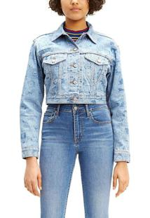 Jaqueta Jeans Levis Trucker Cropped Snoopy - Xs