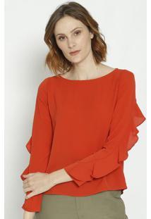 Blusa Texturizada Com Recortes - Laranja Escuromoisele
