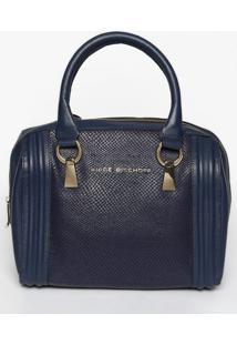 Bolsa Em Couro Com Recortes- Azul Marinho- 24X28X26Cjorge Bischoff