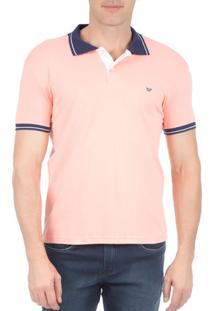 Camisa Polo Masculina Laranja Com Detalhe - P