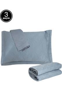 Kit 3Pçs Colcha King Corttex Living Art Premium Galland 230 Fios Azul
