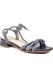 Sandália Shoestock Salto Baixo Cadarço Feminina - Feminino-Marinho