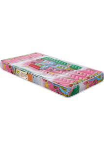 Colchão De Berço Baby Luxo D18 Rosa 130X60X12 Branco C/Ursinhos Celiflex