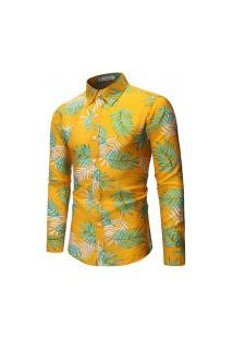 Camisa Masculina Estilo Floral - Amarela