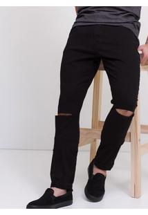 Calça Skinny Navalhada Em Sarja