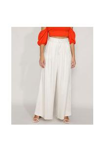 Calça Feminina Pantalona Cintura Super Alta Alfaiataria Off White