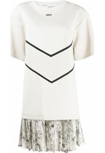Off-White Vestido Reto Com Padronagem - Neutro