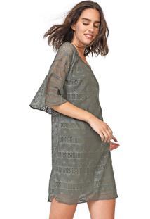 Vestido Enfim Curto Renda Verde