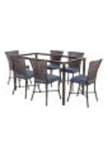 Jogo De Jantar 6 Cadeiras Turquia Pedra Ferro A29 E 1 Mesa Retangular Sem Tampo Ideal Para Área Externa Coberta