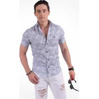2c968733e2 Camisa Horus Social Manga Curta Slim Floral Arabesco - Masculino-Azul