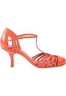 74a54effdb Farfetch. Sapato Sarah Chofakian Feminino Com Salto Amarelo Laranja ...
