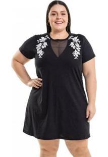 f0d906dcf49f ... Vestido Beline Plus Size Meia Malha Com Estampa Miss Masy - Feminino -Preto