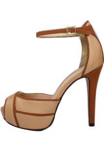 Sandália Salto Alto Meia Pata Week Shoes 3D E Marrom - Tricae