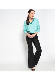 Blusa Com Recortes & Vazados- Verde Águabobstore