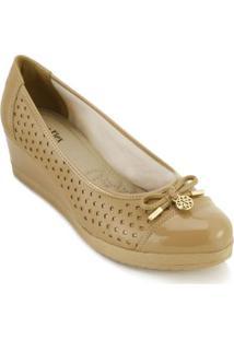 Sapato Casual Sense Ana Flex Anabela Feminino - Feminino-Bege