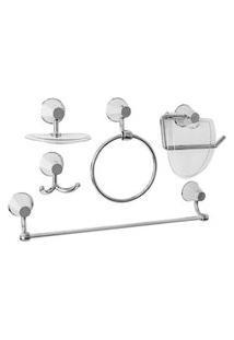 Kit De Acessórios Para Banheiro Plástico 5 Peças Cromado Ipanema Aquaplas