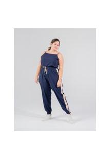 Calça Jogger Almaria Plus Size Miss Taylor Faixa Lateral Azul Marinho