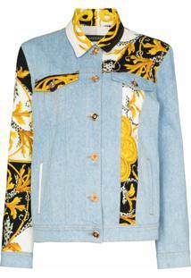 Versace Jaqueta Jeans Com Patchwork Barroco - Azul