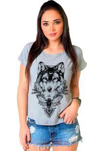 Camiseta Shop225 Lobo Leader Mescla - Cinza - Feminino - Dafiti