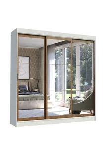 Guarda-Roupa Casal Madesa Istambul 3 Portas De Correr De Espelho 3 Gavetas Branco/Rustic Branco