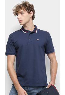 Camisa Polo Tommy Jeans Classics Stretch Masculina - Masculino-Azul Escuro