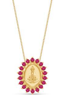 Pingente Nossa Senhora Ouro Rosã© E Rubis