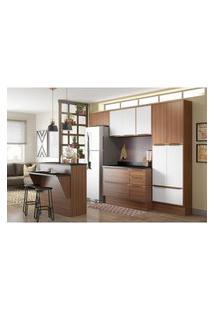 Cozinha Modulada Multimóveis 5464R Calábria 8 Peças Nogueira/Branco