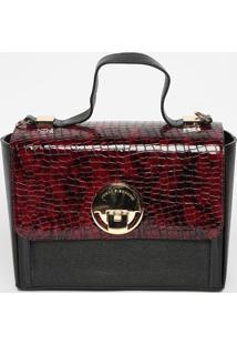 Bolsa Em Couro Com Recorte- Preta & Vinho- 18X25X11Cjorge Bischoff