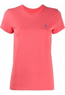 Polo Ralph Lauren Camiseta De Algodão Com Logo Bordado - Rosa