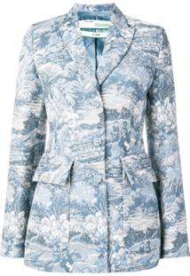 Off-White Blazer Jacquard - Azul