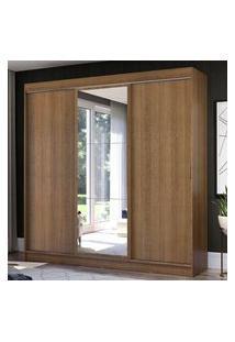 Guarda-Roupa Casal Madesa Istambul 3 Portas De Correr Com Espelho 3 Gavetas - Rustic Marrom