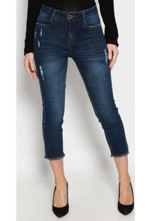 Jeans Cropped Com Zíper - Azul Escuro- Ennaenna
