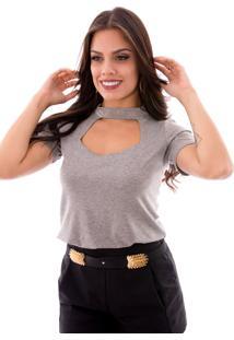 Blusa Up Side Wear Choker Cinza