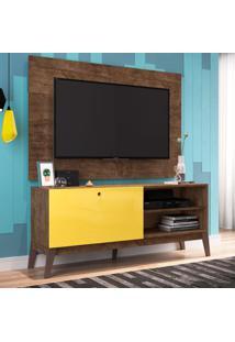 Rack Com Painel Para Tv Até 49 Polegadas Corfu Marrom E Amarelo 136 Cm