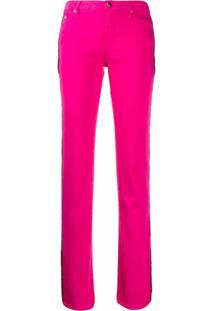 Karl Lagerfeld Calça Flare Com Acabamento Listrado - Rosa