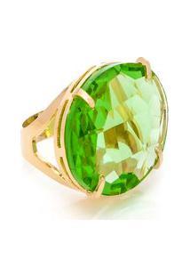 Anel Kumbayá Oval Cristallo Semijoia Banho De Ouro 18K Cristal Verde