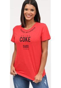 """Camiseta """"Fashion Influencer""""- Vermelha & Preta- Coccoca-Cola"""