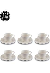 Jogo De 12 Pçs Xícaras Para Café Com Pires De Porcelana Princess 90Ml Lyor