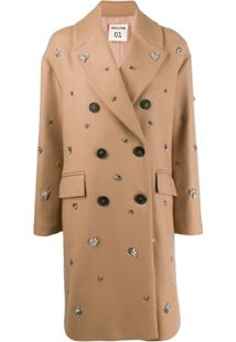 Semicouture Embellished Double-Breasted Coat - Neutro