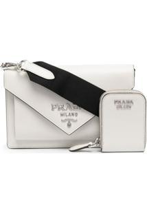 Prada Bolsa Envelope Mini De Couro Saffiano - Branco