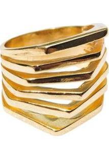 Anel 6 Fileiras Lisas - Feminino-Dourado