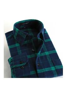 Camisa Xadrez Masculina Slim Fit Alabama - Navy E Verde