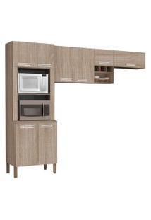 Cozinha Compacta Ametista 8 Portas Composiçáo 3 Nogal - Kit'S Paraná
