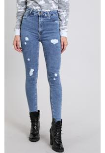 2723ee805 ... Calça Jeans Feminina Super Skinny Sawary Destroyed Azul Médio
