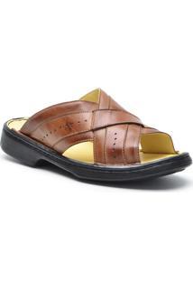 Sandália Dr Shoes Conforto Masculino - Masculino-Caramelo